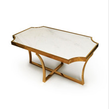 Brass Stainless Steel Coffee Table with Marble Top