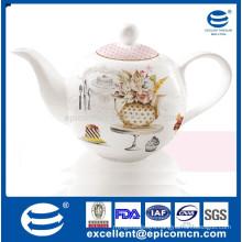 Jasmine Dotted flower design porcelain tea pot,turkish tea pot