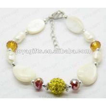 Moda 2012 Joya perla blanca Shell rebordeada tobillera