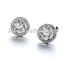 Vente en gros de bijoux en argent plaine 925 en argent sterling zircon rond boucle d'oreille ronde