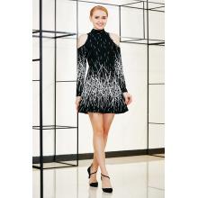 Border Printing Cold Shoulder Winter Flare Dress