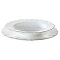 Elegante plato de sopa china de hueso fino con oro