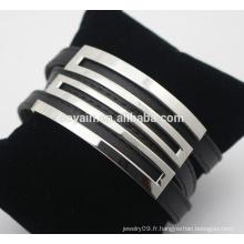 Bracelet en cuir en acier inoxydable européen et américain en acier inoxydable