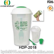 Salada de plástico para ir servir copo com garfo (HDP-2018)
