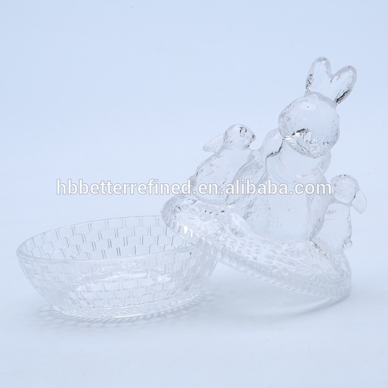 Br 1812wholesale Glass Bunny Candy Dish
