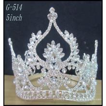 Silberne Kinderprinzessin-Tiara-Großverkauf heiße Verkaufs-Schönheits-Mädchen-Tiara-Kronen-Festzug