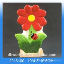 Humidificador de aire de cerámica de diseño de flores rojas para habitación