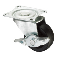 Light Duty Caster Series - 1.5 in. Placa de horquilla con freno lateral - Caucho