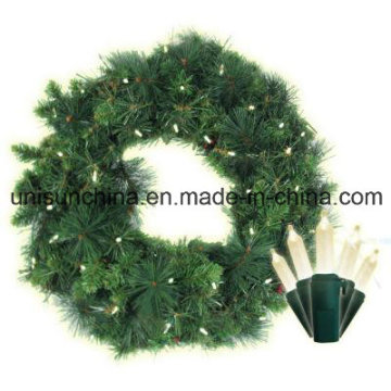 30 in. Pre-Lit Anchorage Fir Pine Wreath with Incandescent Light (MY310.255.00)