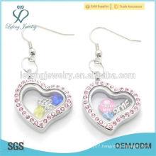 Free sample hot sale pink crystal locket earring,heart earring designs,earring models