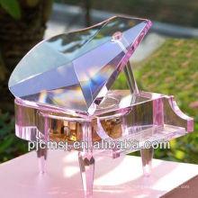 2015 новые мода стекло Кристалл фортепиано музыкальную шкатулку для свадьбы или домашнего декора и памятные подарки