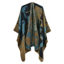Hot Sale Poncho Cape Women Cardigan Travel Cashmere Pleated Shawl Winter Jacquard Wrap Warm Lace Pattern Pashmina Shawls