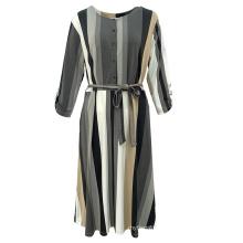 Wholesale Ladies Fashion Summer Elegant Casual Long Sleeve Woven Stripe Long Dress