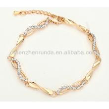 Pulsera afortunada caliente del encanto del zircon del oro color de rosa caliente del acero inoxidable para las mujeres