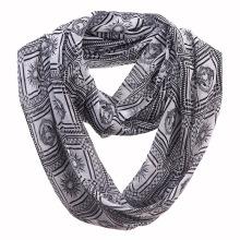 Woman Fashion Apollo Printed Polyester Chiffon Infinity Scarf (YKY1107)