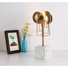 Modern Style Living Room white marble base metal classic light table desk lamp