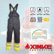 fire retardant cotton royal blue bib work pants