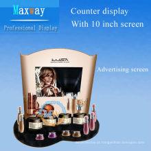 cremalheira de exposição dos cosméticos com a tela de propaganda de 10 polegadas