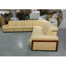 Nueva llegada U forma de sofá de cuero con cama (GA1030)