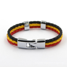 Three Color Braided Leather Magnetic Men Bracelet