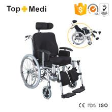 Liegender Rollstuhl mit Aluminiumrahmen und hoher Rückenlehne mit Handbremse
