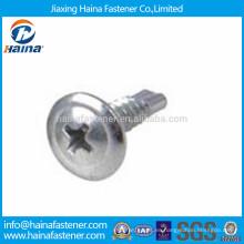 4.8 grado de zinc de acero de carbono chapado cabeza de techos autoperforación tornillo