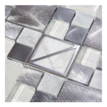 Glass Mixed Metal and Stone Small Square Mosaic Tiles