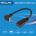 Alta velocidade de 90 graus Mini HDMI para adaptador de cabo HDMI