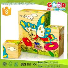 new arrival preschool educational 9pcs cube block wooden advertising puzzle