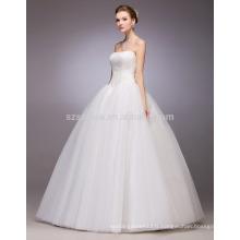 Robe de mariée en robe de bal sans manches en style simple 2017 avec de vraies photos