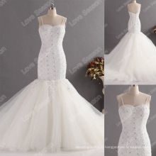 LS0125 Real sample high quality franch lace top diamonds mermaid wedding dress japanese designer spaghetti strap wedding gown