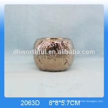 Sujetador de vela de cerámica de oro de la alta calidad para la decoración casera