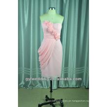 Vestidos de noiva de tul de cetim e rosa Vestido de joelho macio e suave do joelho fora da saia de ombro