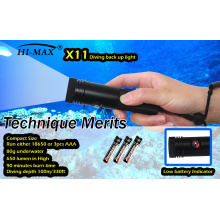 HI-MAX 8 Grad schmaler Strahlwinkel Tiny Dive Torch Run in 18650 / AAA