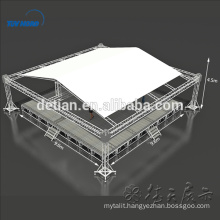 Spigot Truss System aluminum truss tent with height adjustable wooden stage
