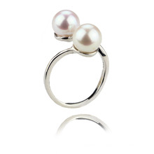 Double Button Genuine Pearl Jewelry Ring