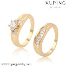 13397-Xuping moda último anillo chapado en oro diseños para regalos de aniversario de boda