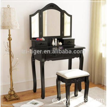 Three Mirror five drawers Vanity Set Bedroom Single Dressing Table