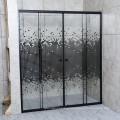 Square Parttern Design Sliding Door Black Aluminium Shower Partitions