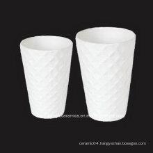 Embossed Surface White Porcelain Vase