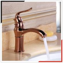 China OEM pink gold zinc die casting brass basin mixer bathroom faucet