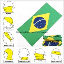 Promotional Brazil National Flag Printed Microfiber Seamless Style Bandanna Custom Buff