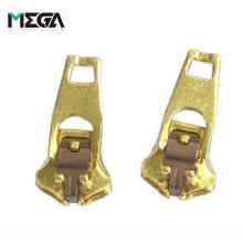 Wholesale brass non magnetic single spring lock fashion zipper head fashion metal zipper slider reversible zipper slider