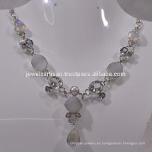Blanco Druzy y multi piedras preciosas 925 collar de plata de ley Collar