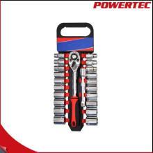 "Powertec 22PCS 1/2 ""Dr Ratchet manejar y Bit Socket Wrench Set"