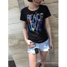 Summer Fashion Applique Letter Cotton Round Neck Short Sleeve T-Shirt