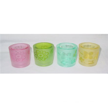 Cylinder Clear Colorful Glass Candle Holder/Cup (DRL06070)