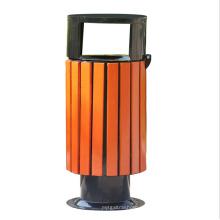Fuera de basura de acero-madera (A13300)