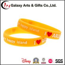 Fabricante chinês moda estilo vitalidade publicidade laranja em relevo em relevo pulseira de silicone