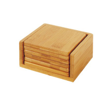 Square bamboo coaster with holder